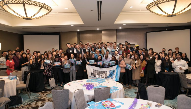 aig birthday box team building event in new york to celebrate foster children's birthdays