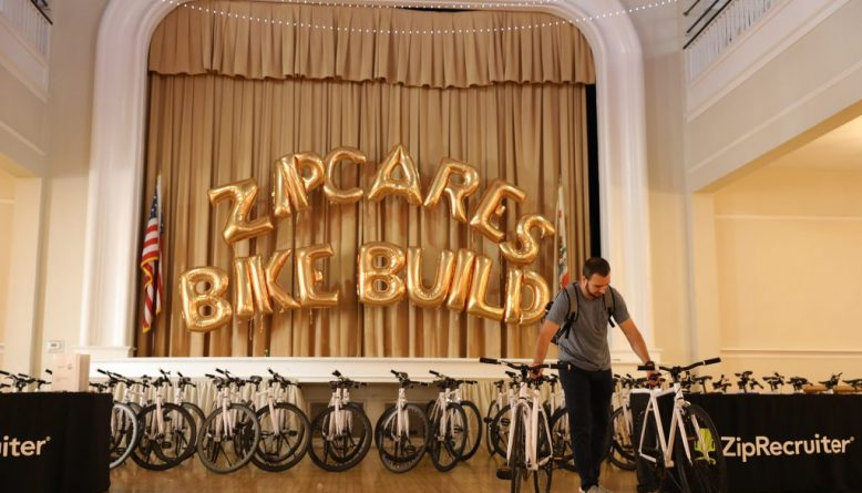 zip recruiter build a bike charity team building event in los angeles california to help kids in foster care